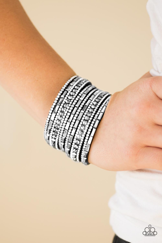 Wham Bam Glam - Black/White Bracelet $5 www.my-bling.com Gorgeous Black Suede and White Rhinestone Bracelet