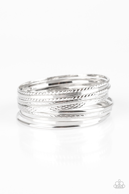 Silver Bangle Set of 9 Bracelets $5 www.my-bling.com
