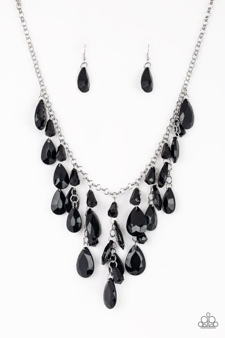 Irresistible Iridescence Black Teardrop Necklace $5.00 www.my-bling.com