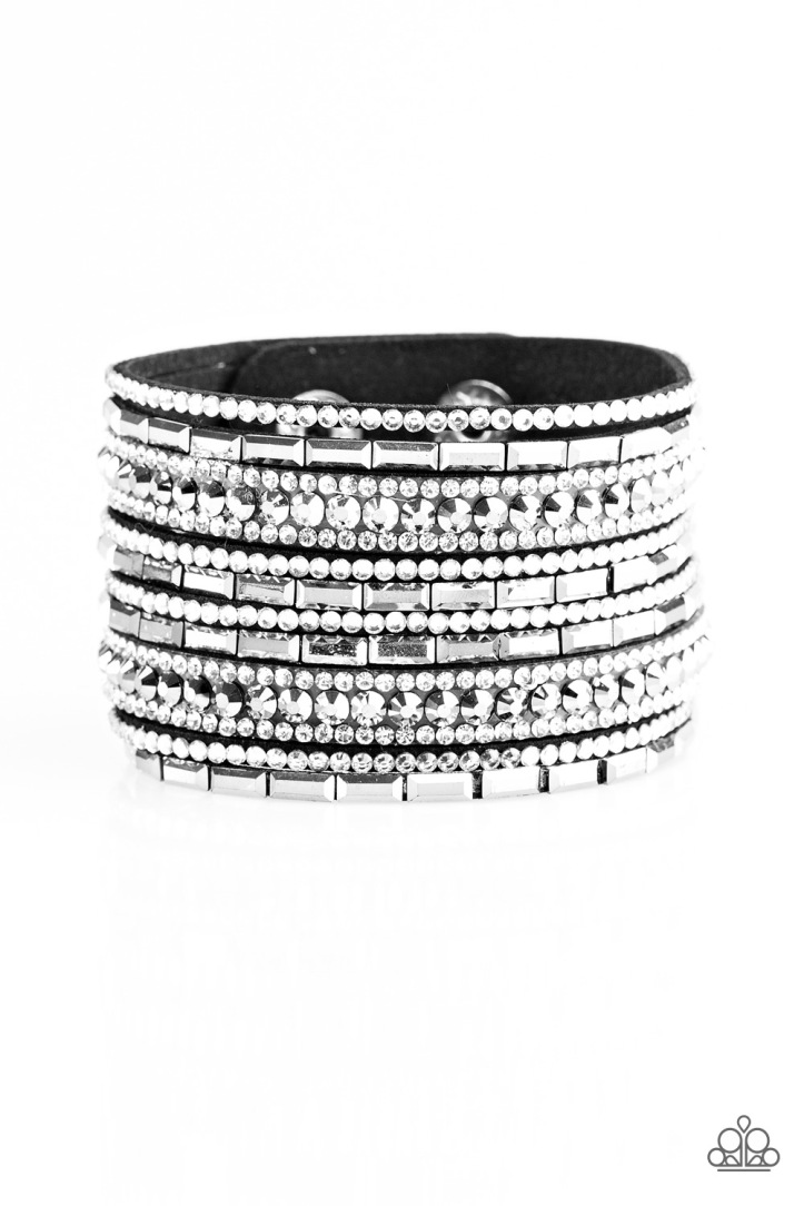 Wham Bam Glam - Black/White Bracelet $5 www.my-bling.com Gorgeous Black Suede and White Rhinestone Bracelet