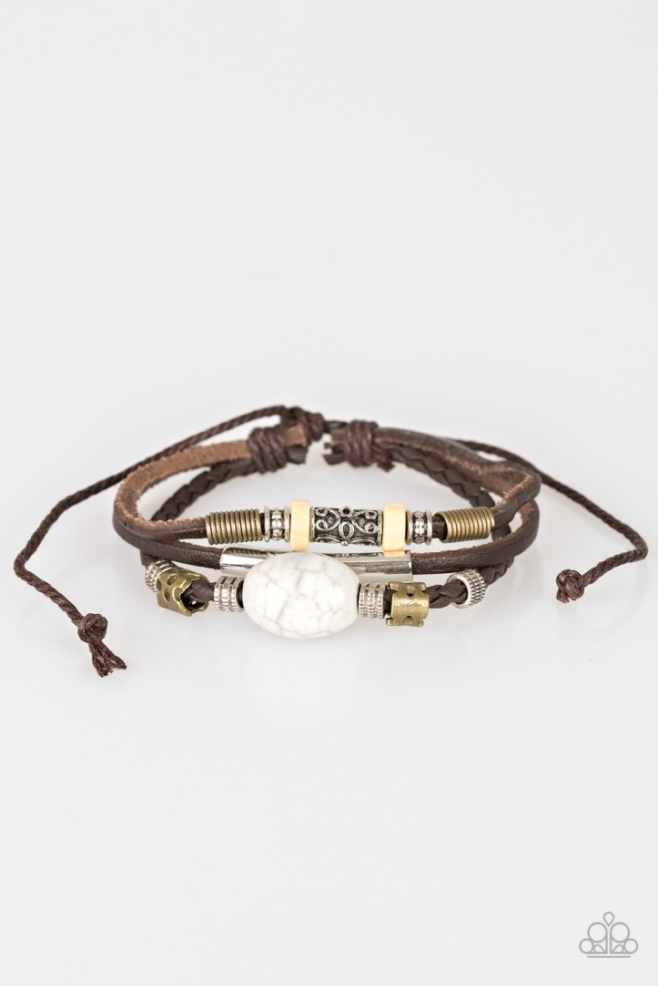 Across the Globe Leather Bracelet with Metallic Accents and Large Stone $5 www.my-bling.com