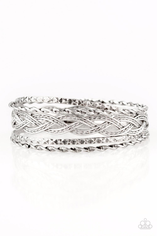 Silver Bangle Set of 5 Bracelets $5 www.my-bling.com