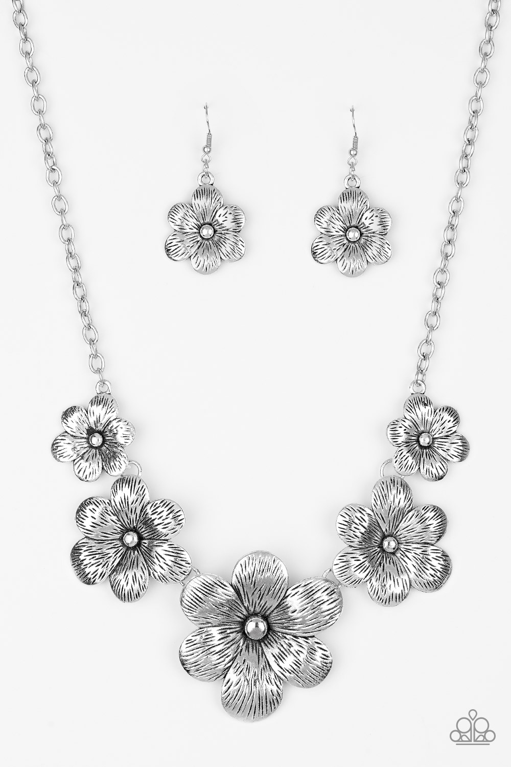 Secret Garden Floral Necklace and Earring Set - Silver $5 www.my-bling.com