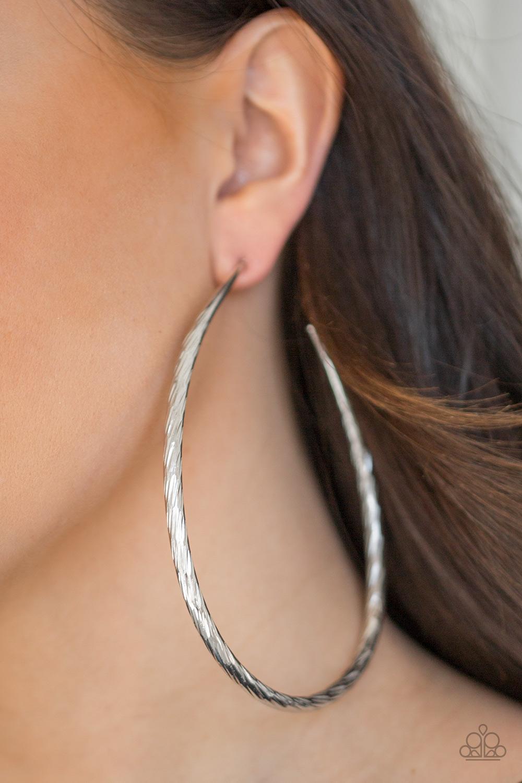 Fleek All Week Large Silver Hoop Earrings by Paparazzi www.my-bling.com