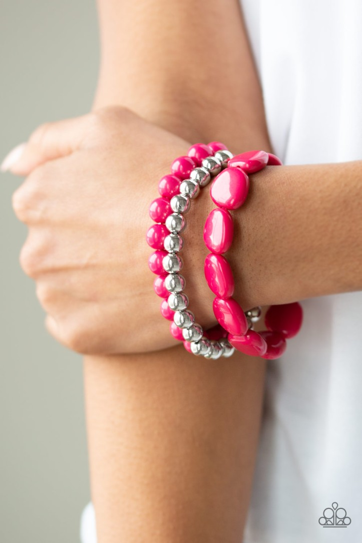 Color Venture - Pink Bracelet Set.  Bright Pink Beads and Shiny Silver Beads. $5 my-bling.com