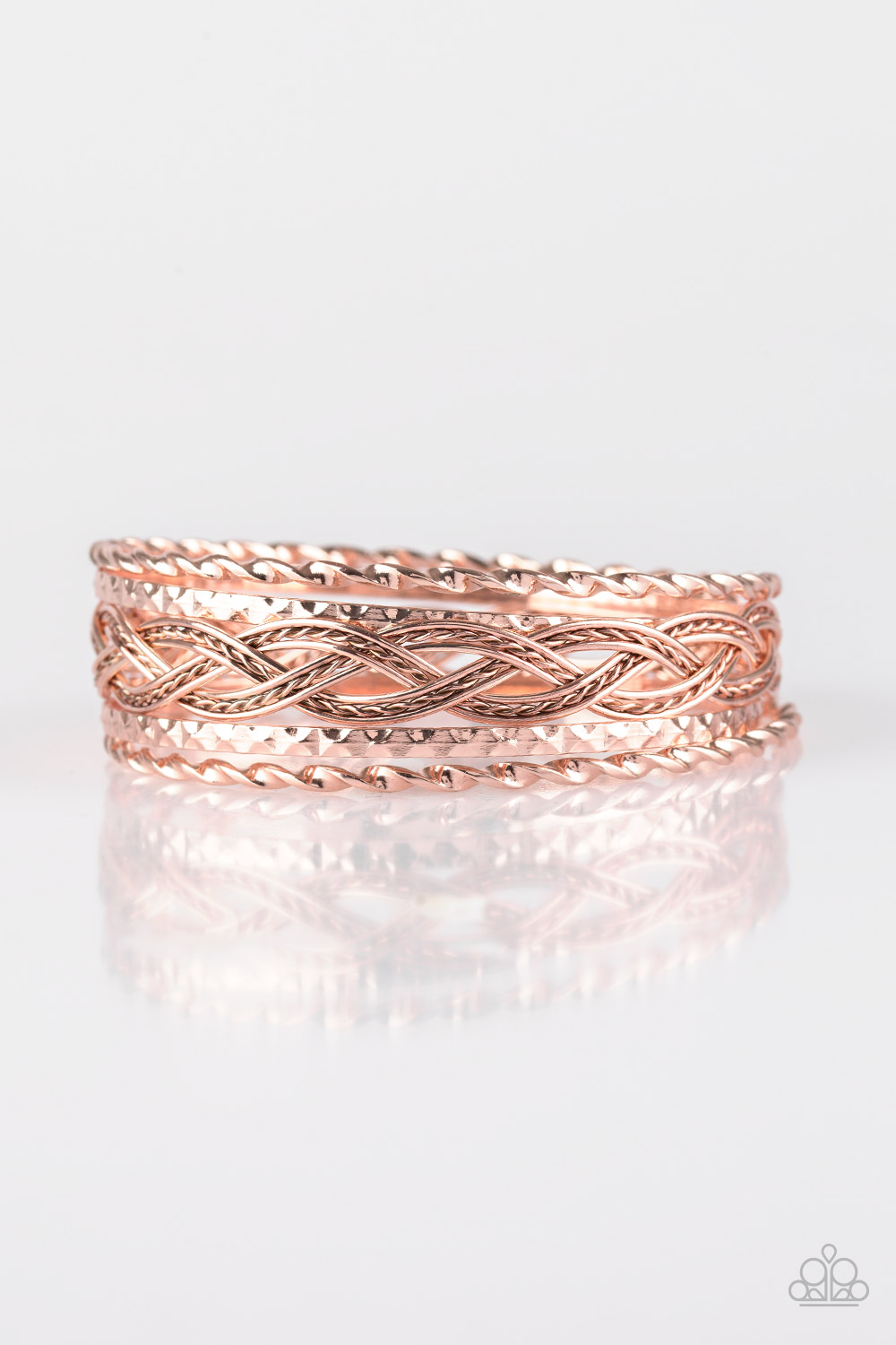 Rose Gold Bangle Set of 5 Bracelets $5 www.my-bling.com