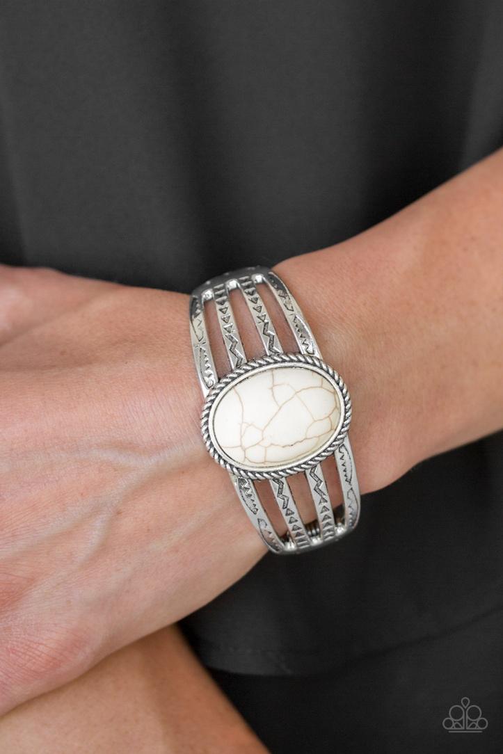 Desert Glyphs - White Cuff Bracelet $5 www.my-bling.com
