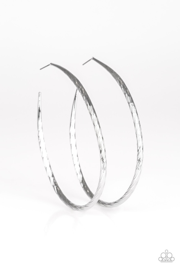 Fleek All Week Large Silver Hoop Earrings by Paparazzi $5 www.my-bling.com Lead and Nickle Free