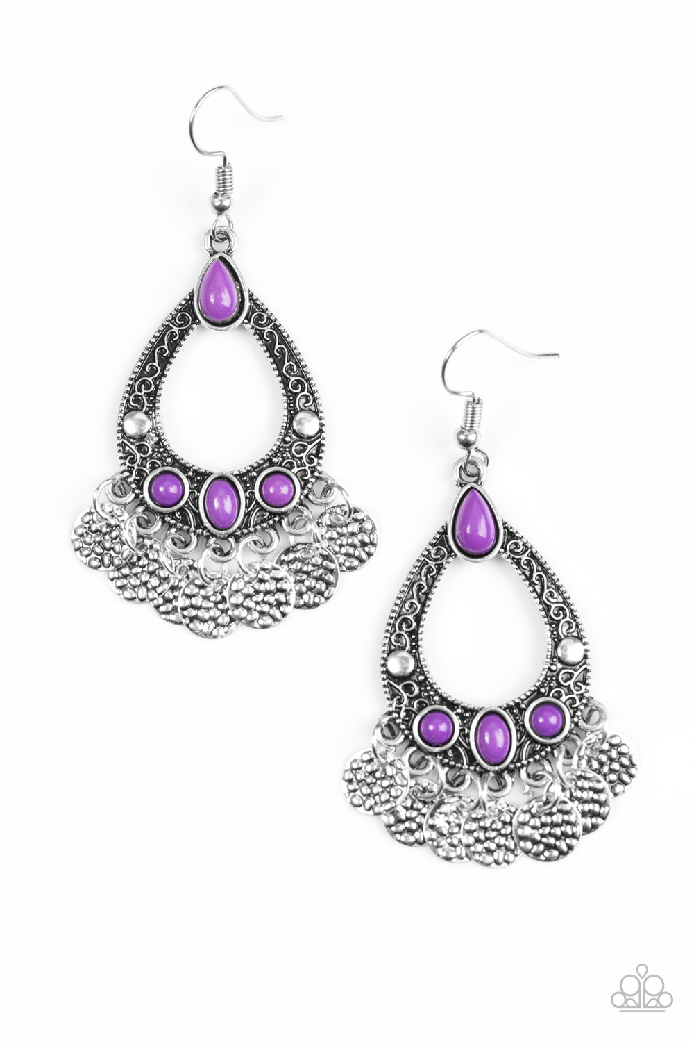 Island Escapade - Purple Earrings $5 my-bling.com Purple and silver chandelier earrings