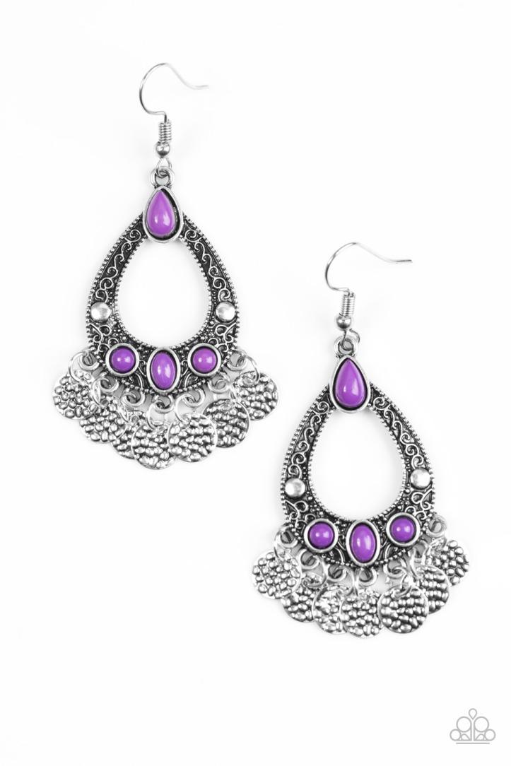 Island Escapade - Purple Earrings $5 my-bling.com Purple and silver chandelier earrings