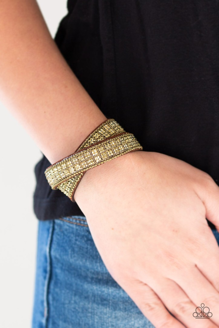 Rock Band Refinement Brass, Rhinestone and Suede Bracelet $5 www.my-bling.com