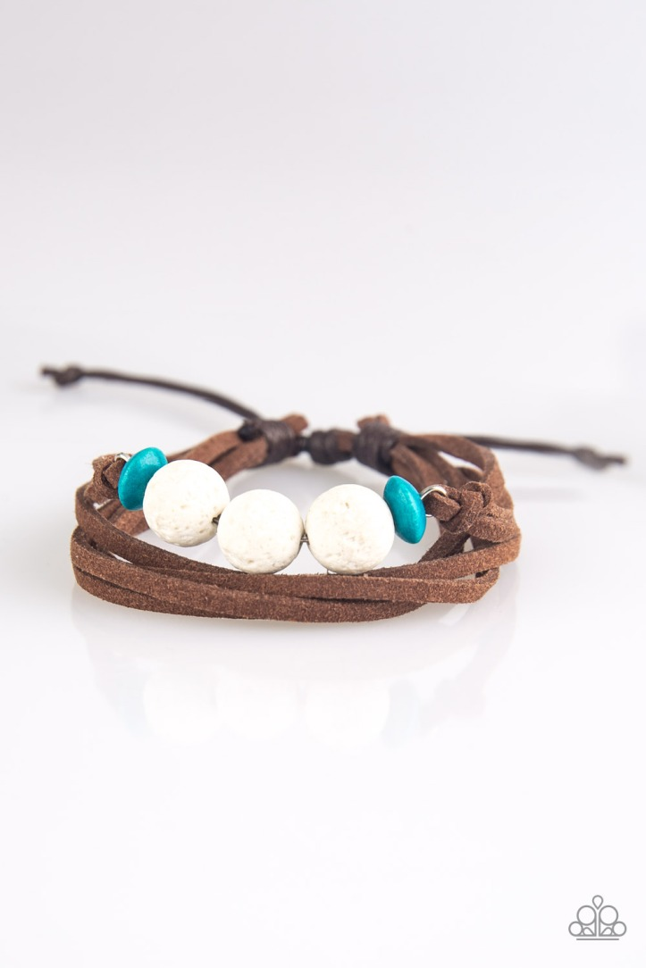 Adventure Zone - White Bracelet with Brown Suede, White Lava Rocks and Blue Wooden Beads $5 www.my-bling.com