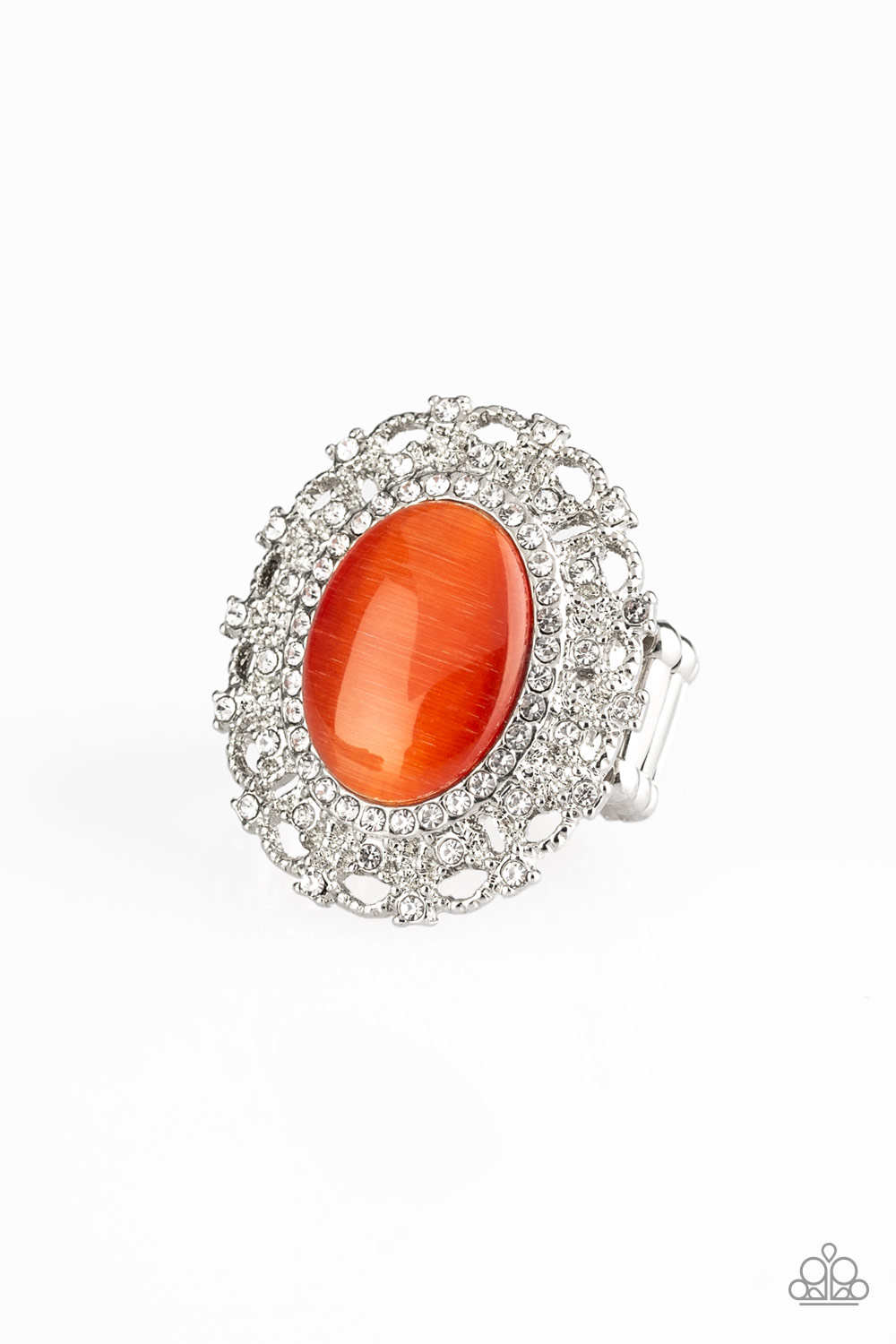 BAROQUE The Spell - Orange Ring $5 my-bling.com  Gorgeous large orange stone set in rhinestones.