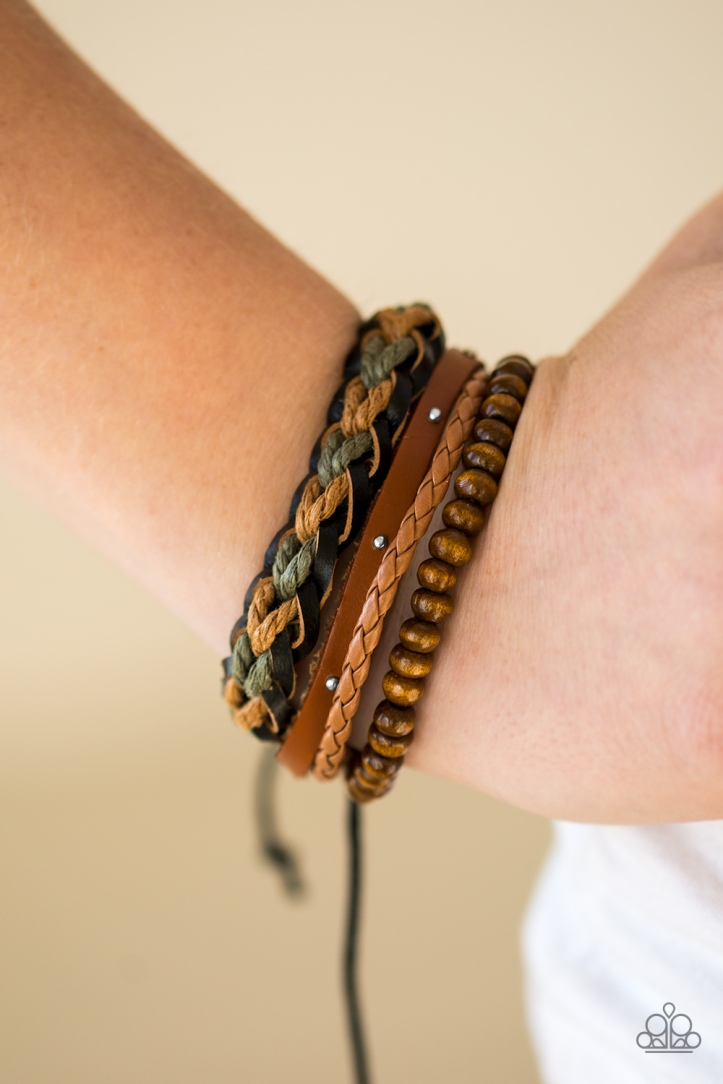 Mountain Mode Leather, Twine and Wooden Bead Bracelet $5 www.my-bling.com