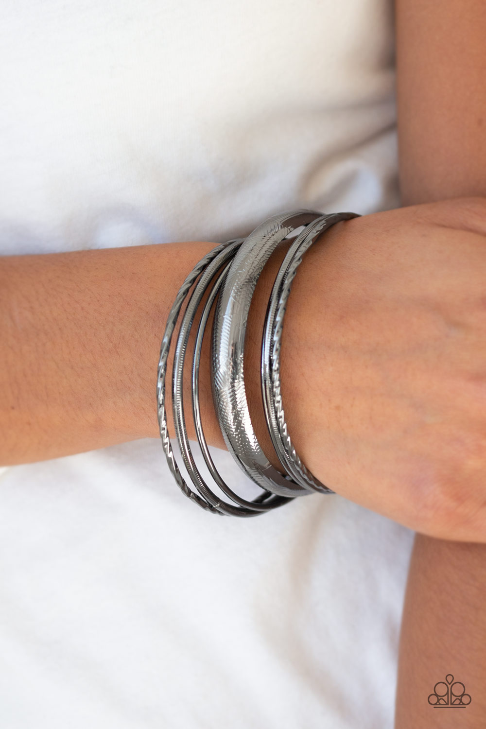 Black Gunmetal Bangle Set of 7 Bracelets $5 www.my-bling.com