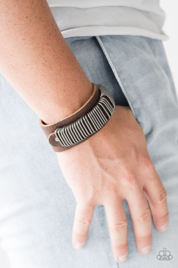 Boondock Bandit Leather Bracelet with Silver Rings $5 www.my-bling.com