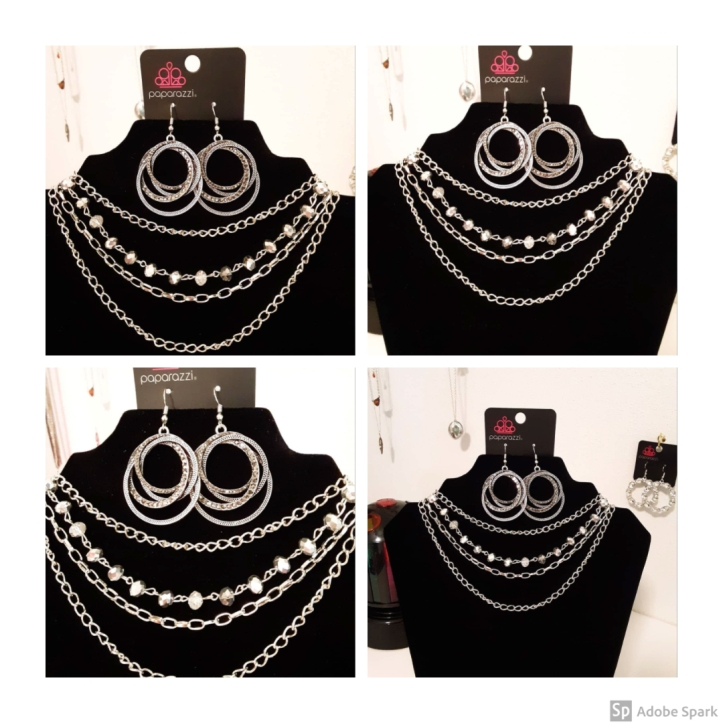 Smokey Rhinestone and Silver Earrings and Necklace from Paparazzi