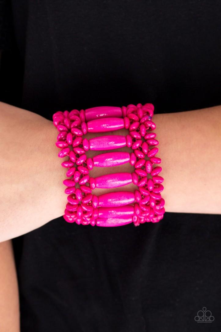 Barbados Beach Club Pink Bracelet by Paparazzi $5.00 www.my-bling.com
