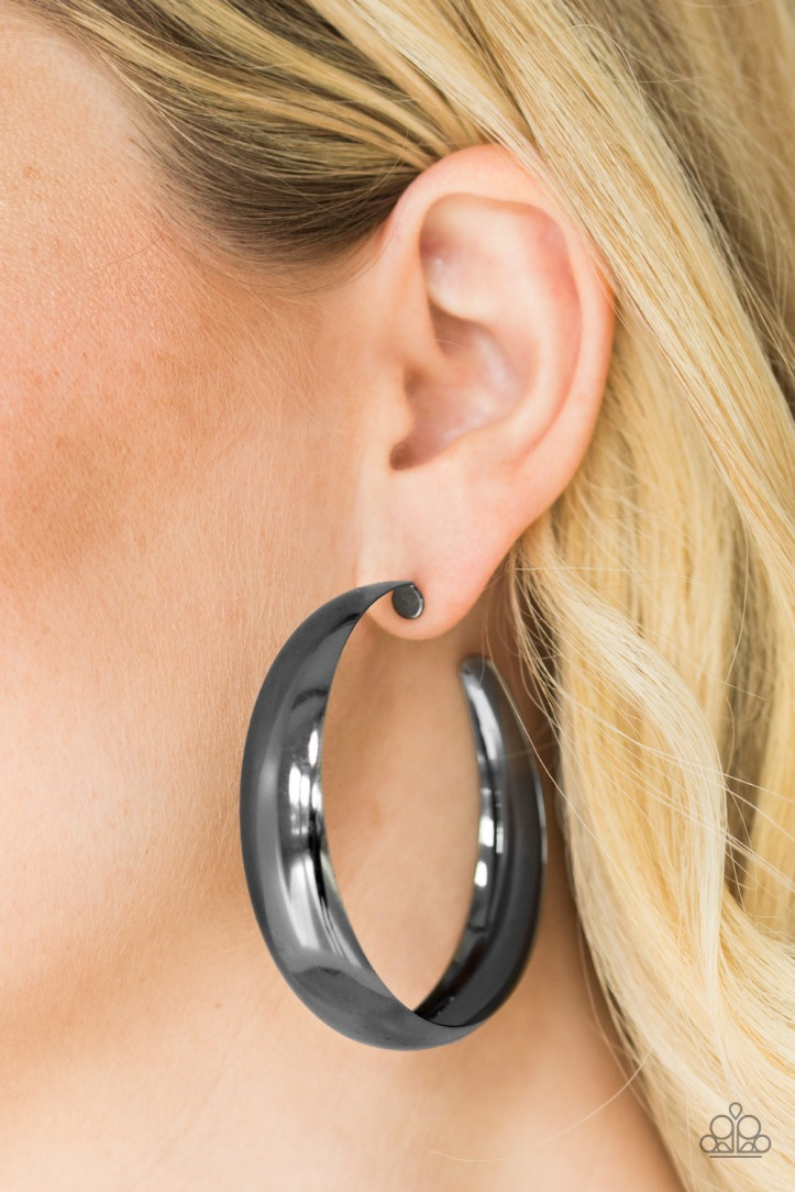 "Gunmetal Hoop Earrings 2 1/2"" Diameter by Paparazzi $5.00 www.my-bling.com"