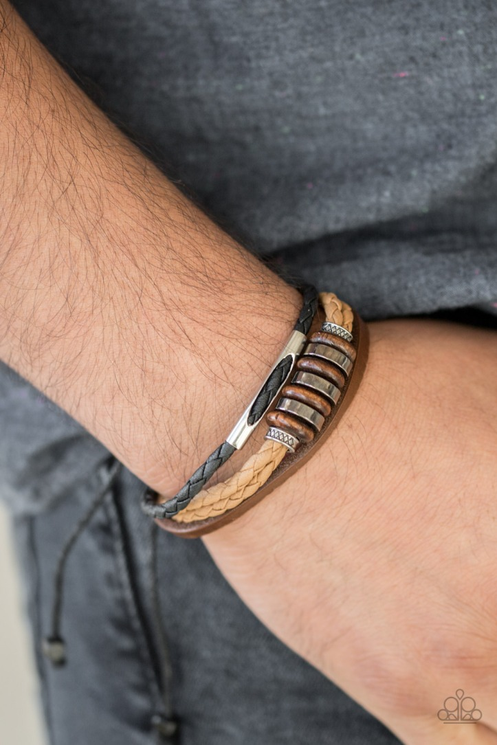 Brown Leather Bracelet with wooden and metallic beads for Men by Paparazzi $5.00 www.my-bling.com