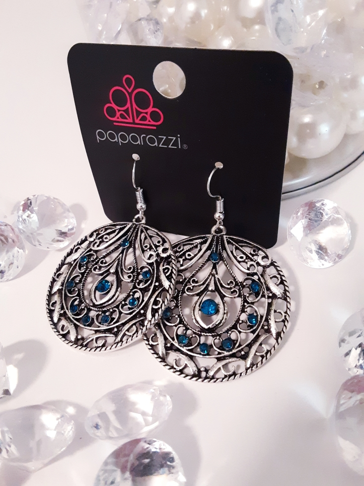 Gorgeous Silver Earrings with Blue Stones $5.00.  Contact Jfay to Purchase