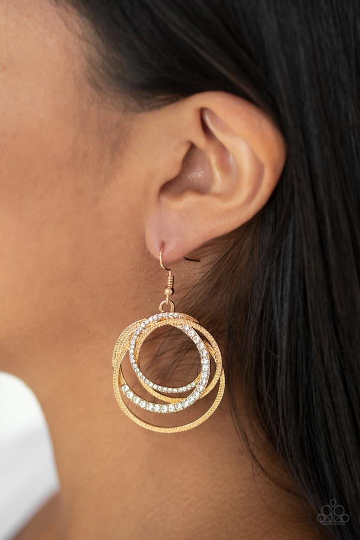 Elegantly Entangled Gold Earrings by Paparazzi $5 www.my-bling.com