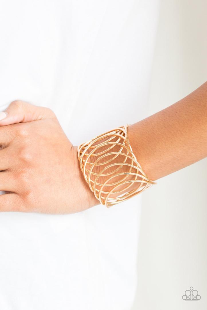 Dizzyingly Diva Gold Cuff Bracelet by Paparazzi $5.00 www.my-bling.com