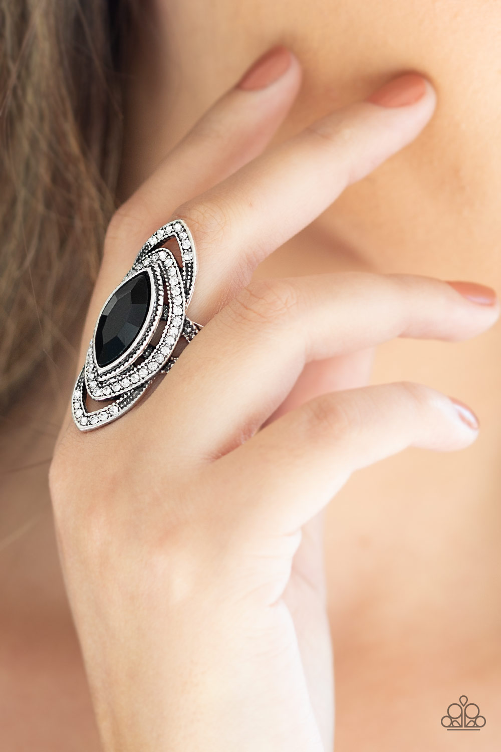 Hot Off the EMPRESS - Black and Silver Ring with Rhinestones by Paparazzi $5.00 my-bling.com