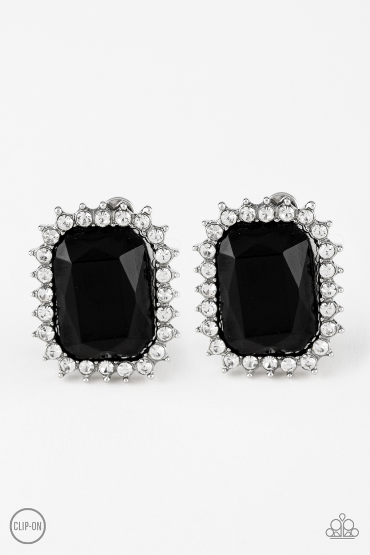 Insta Famous Black Clip On Earrings by Paparazzi $5 www.my-bling.com