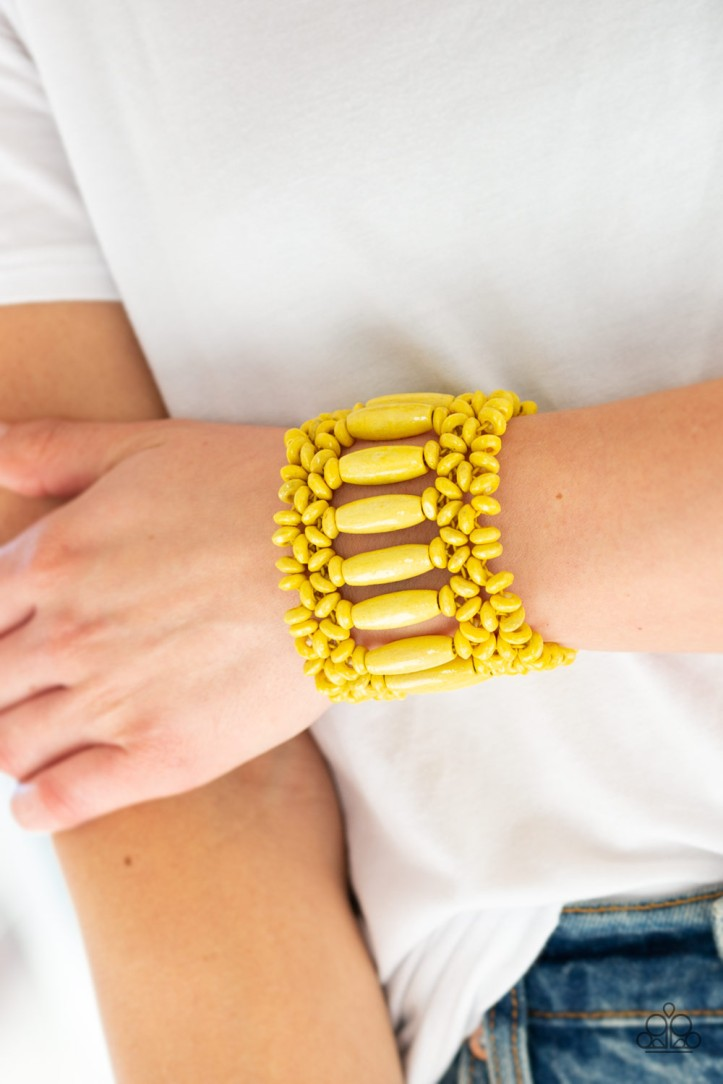 Barbados Beach Club Yellow Bracelet $5.00 www.my-bling.com  Yellow wooden beads on a stretchy band bracelet for a gorgeous beachy look.