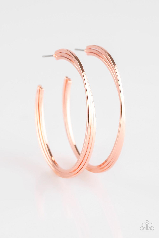 """HAUTE Gossip - Copper Hoop Earrings by Paparazzi 2"""" Diameter $5.00 www.my-bling.com"""