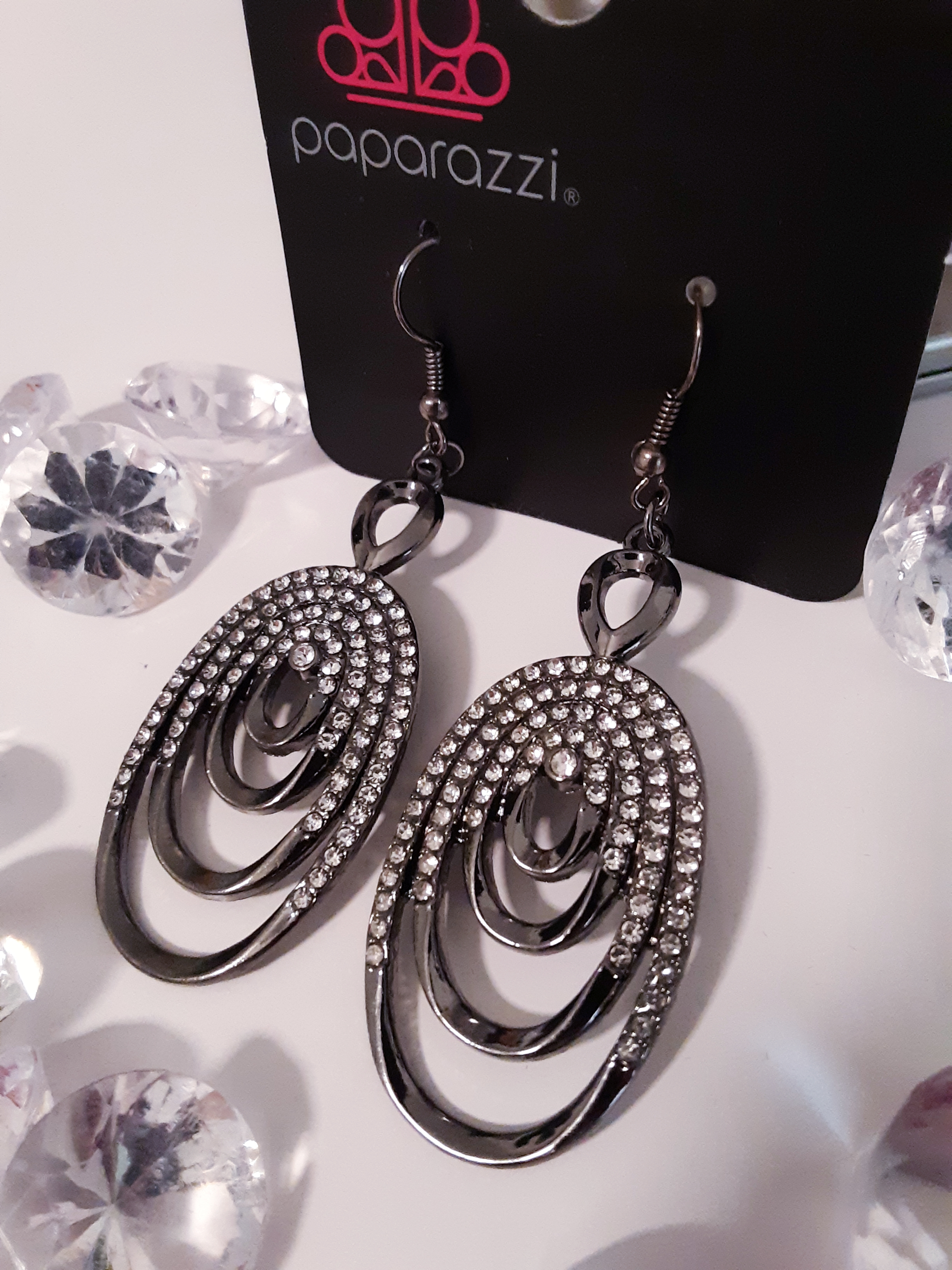 Gunmetal and Rhinestone Earrings  $5.00 Contact Jfay to Purchase