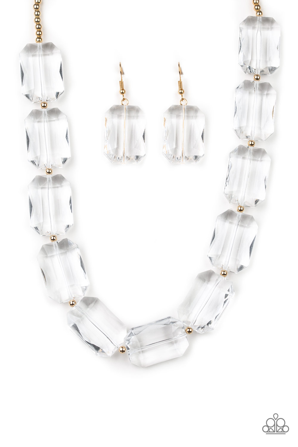 The ICE President - Gold Necklace and Earrings by Paparazzi $5 my-bling.com