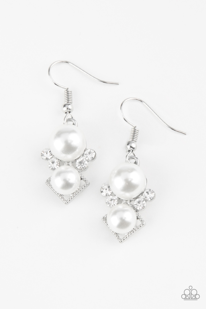 Mrs. Gatsby White Pearl and Rhinestone Earrings by Paparazzi $5 my-bling.com