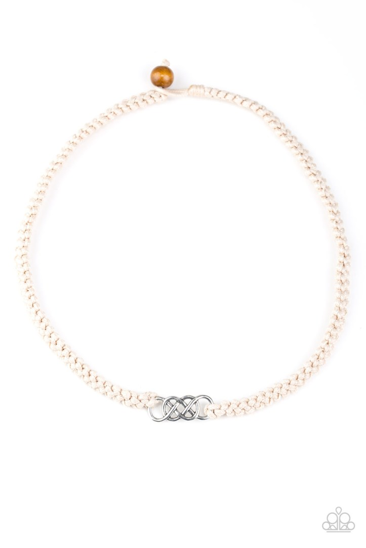 White Braided Necklace with Infinity Pendent for Men by Paparazzi $5.00 www.my-bling.com