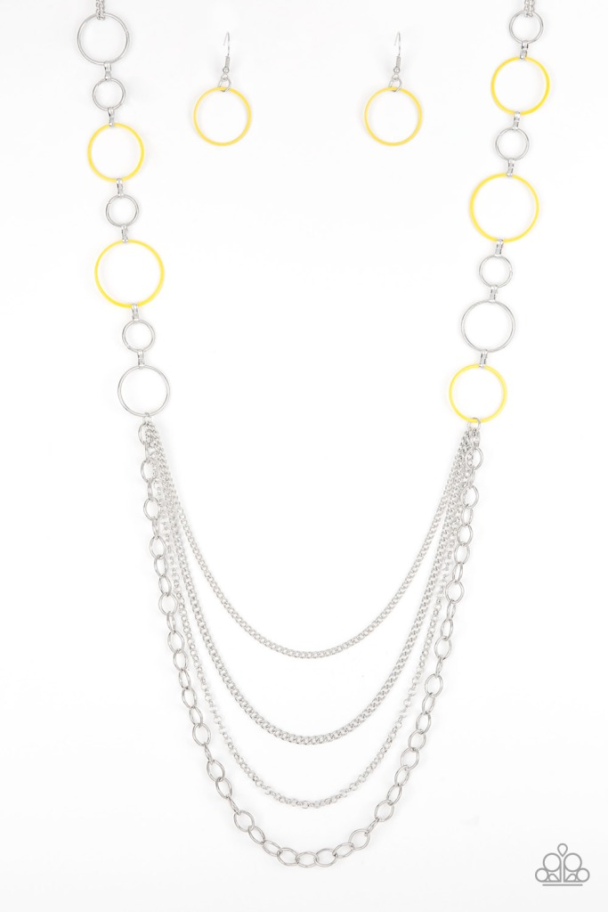Beautifully Bubbly Yellow and Silver Necklace by Paparazzi $5 www.my-bling.com