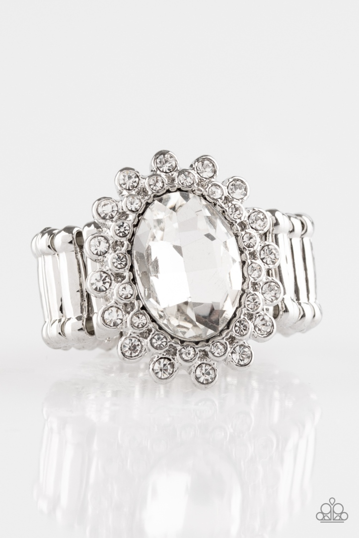 Castle Chic - White Rhinestone Ring by Paparazzi $5.00 www.my-bling.com