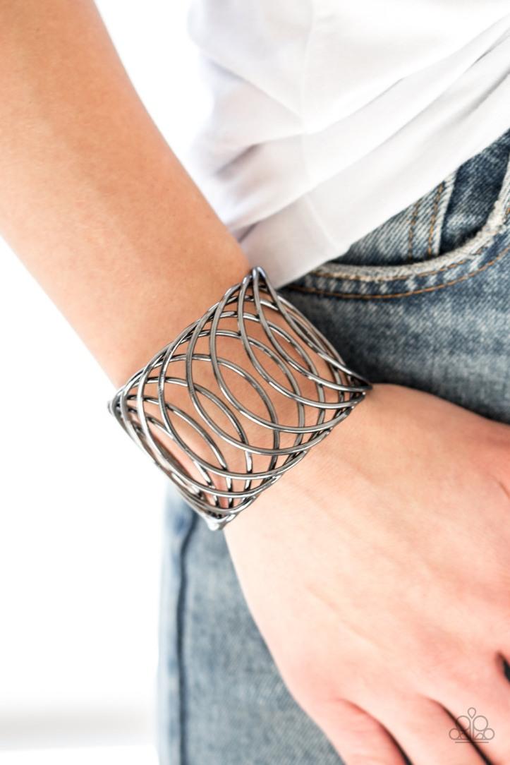 Dizzyingly Diva Gunmetal Bracelet by Paparazzi $5 my-bling.com