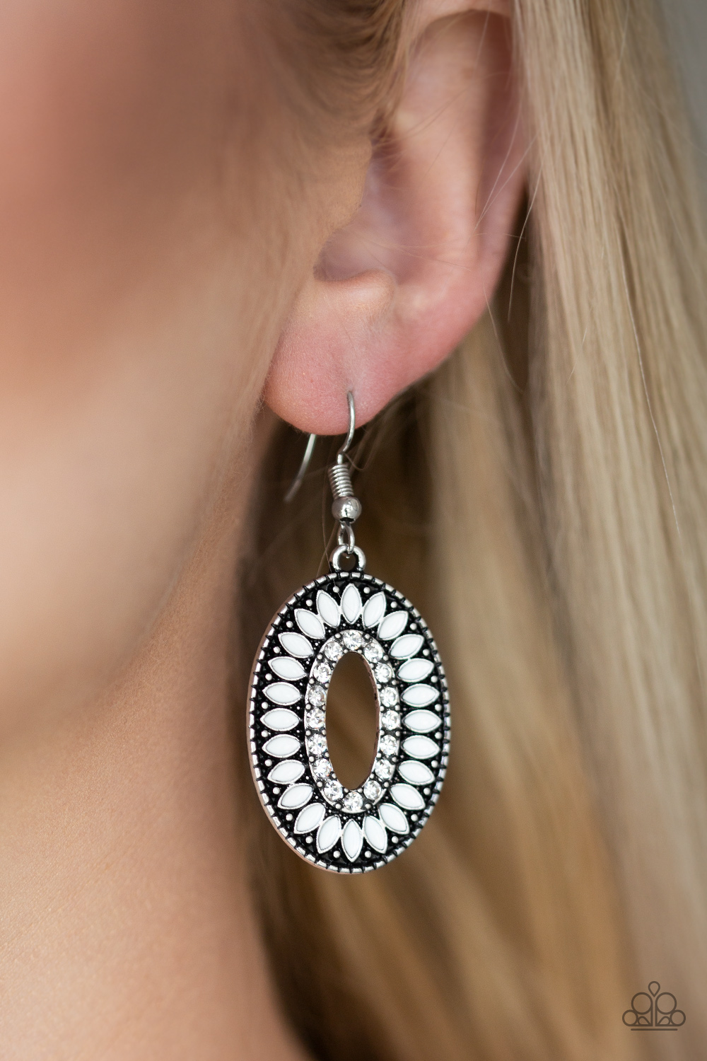 Fishing for Fabulous White Earrings by Paparazzi $5.00 www.my-bling.com