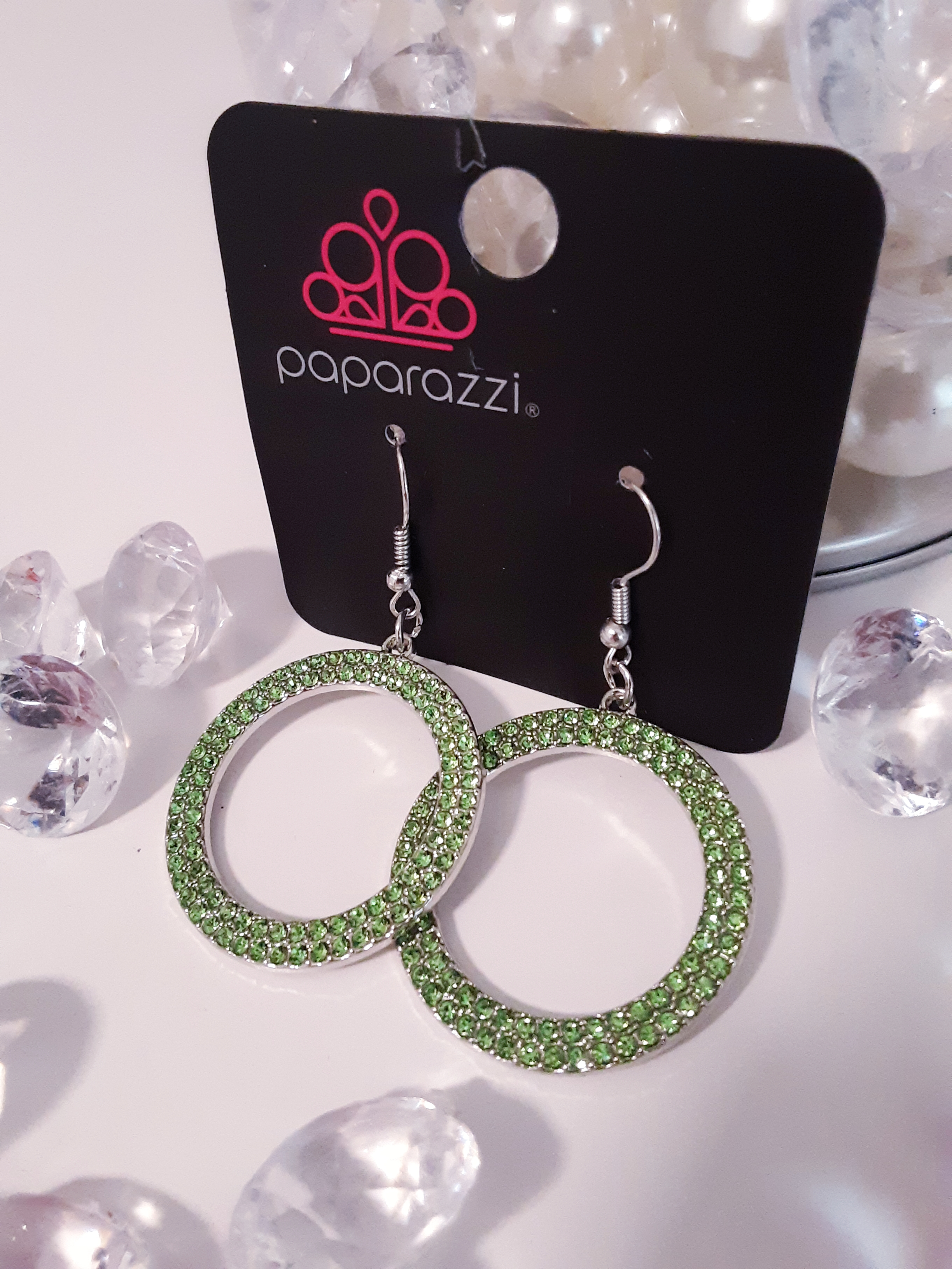 Green Rhinestone Earrings $5.00 Contact Jfay to Purchase