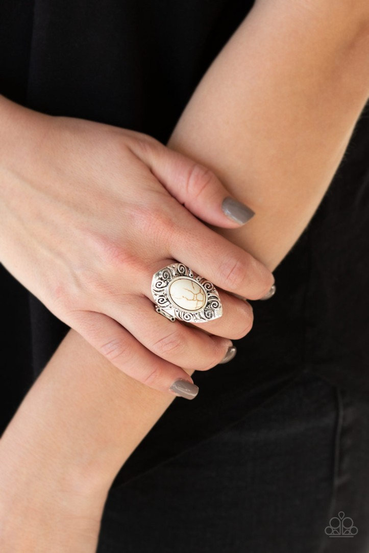 Mega Mother Nature - White Ring by Paparazzi $5.00 www.my-bling.com