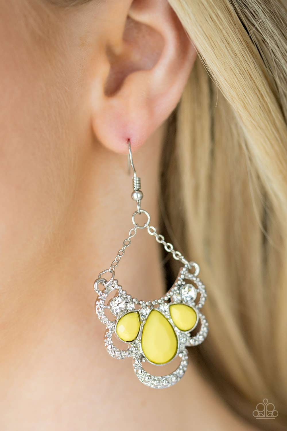 Caribbean Royalty - Yellow Earrings by Paparazzi $5.00 www.my-bling.com