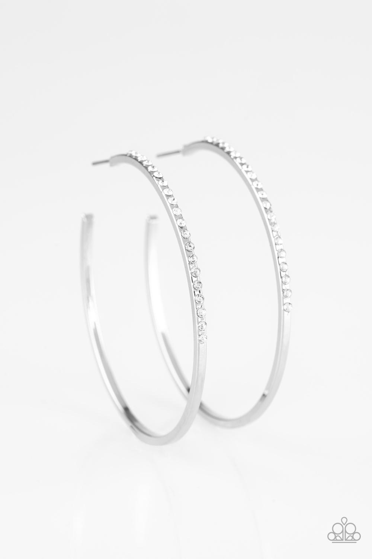"White Rhinestone Hoop Earrings by Paparazzi 2 1/4"" Diameter $5.00 www.my-bling.com"