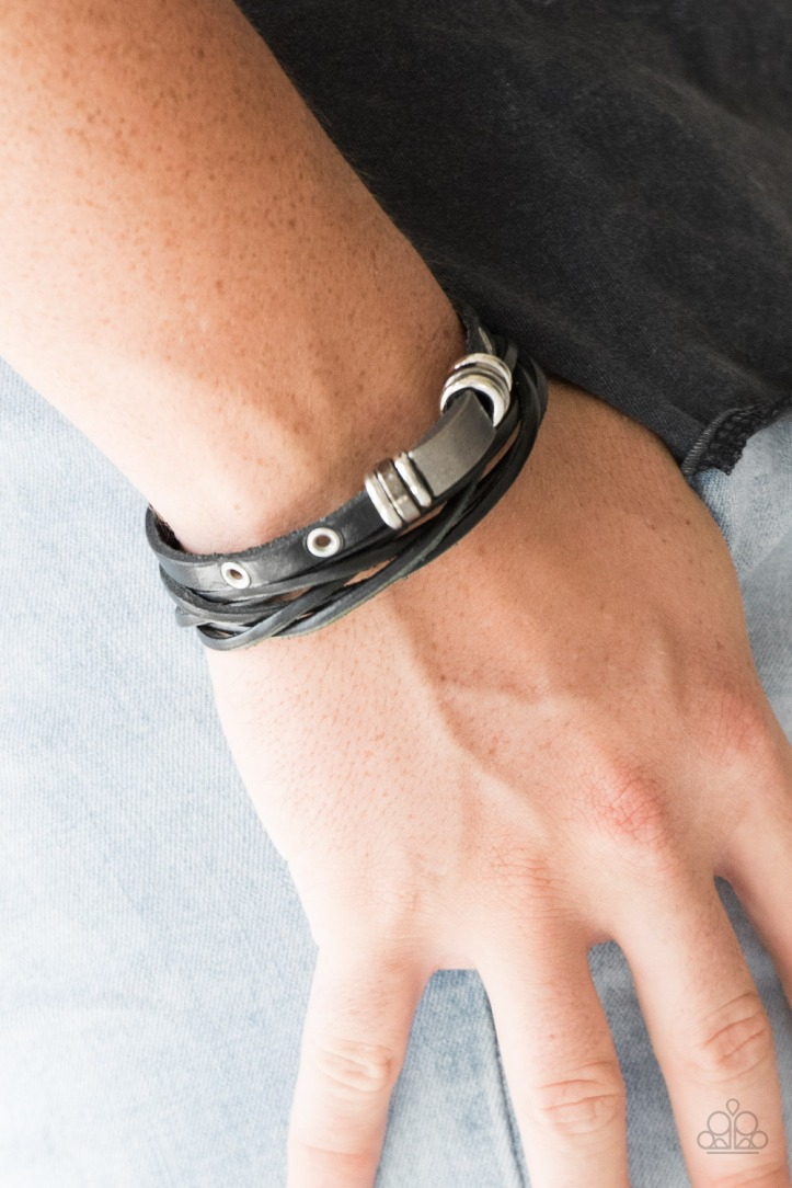 Road Rally Black Leather Bracelet for Men by Paparazzi $5.00 www.my-bling.com