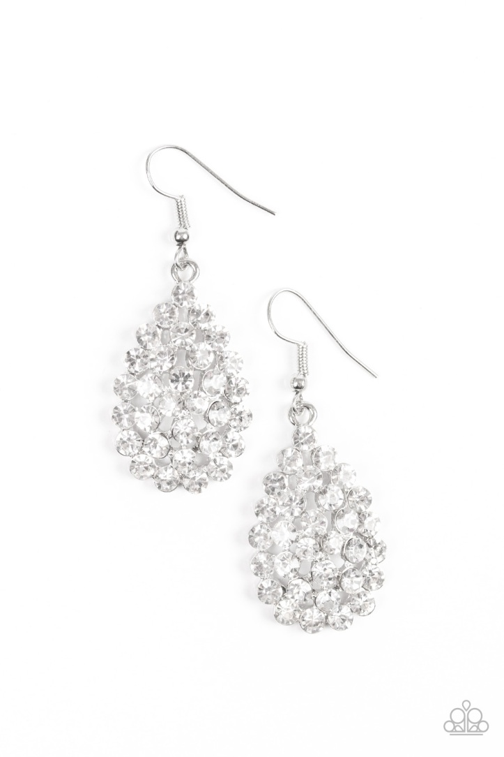 Sparkling Sparkle-Naire - White Earrings by Paparazzi $5 www.my-bling.com
