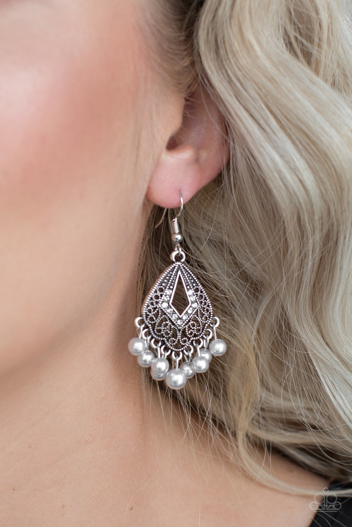 Gracefully Gatsby Silver Pearl and Rhinestone Earrings by Paparazzi $5 my-bling.com