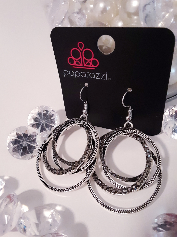 Silver Loops with Smoky Rhinestone Earrings $5 Contact Jfay to Purchase