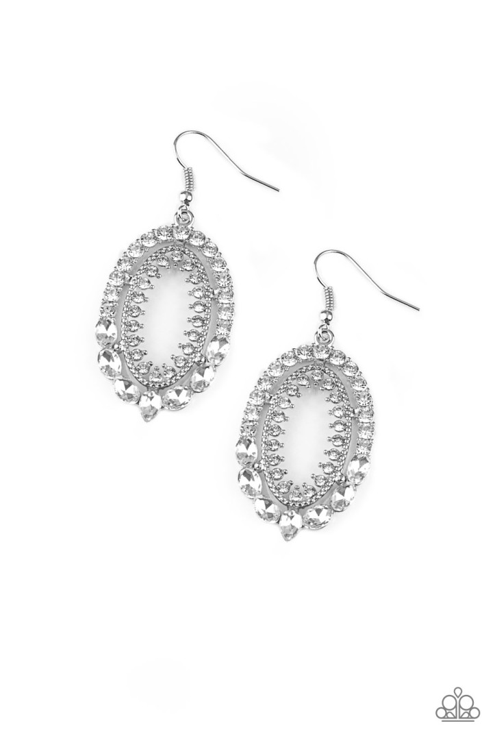 Trophy Shimmer - White Earrings by Paparazzi $5 www.my-bling.com