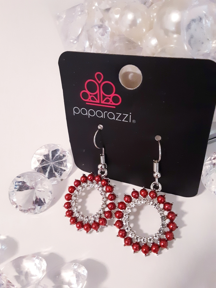 Red Bead and Rhinestone Earrings $5 Contact Jfay to Purchase