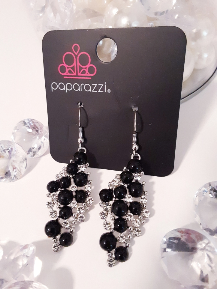Black Bead and Rhinestone Earrings $5 Contact Jfay to Purchase